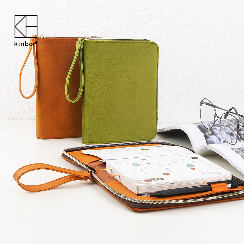 Freeshipping Creative Multifunctional Zipper Handbook A6 Daybook Planbook  Notebook Stationery Bag dobson c french verb handbook