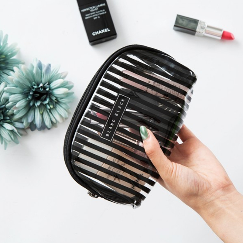 Fashion Stripe Women Cosmetic Pouch Travel Makeup Organizer Hand Bag Waterproof Make up Brush Case Beauty Bag