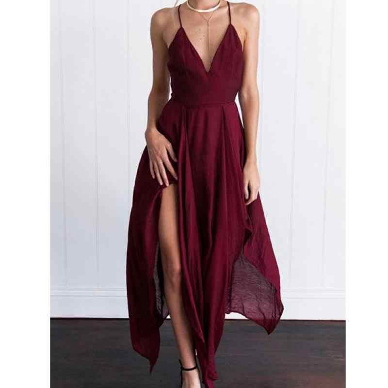 סקסי מקסי שמלת נשים 2019 Robe Femme מוסלין Vestidos V-צוואר הלטר קלע שרוולים Slim אופנה מסיבת שמלות
