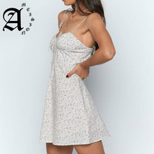Ameision Women Summer Dress 2019 Fashion  Chic Beach Party Lace Up Sexy Mini Spaghetti Strap small floral dress Cotton Femme