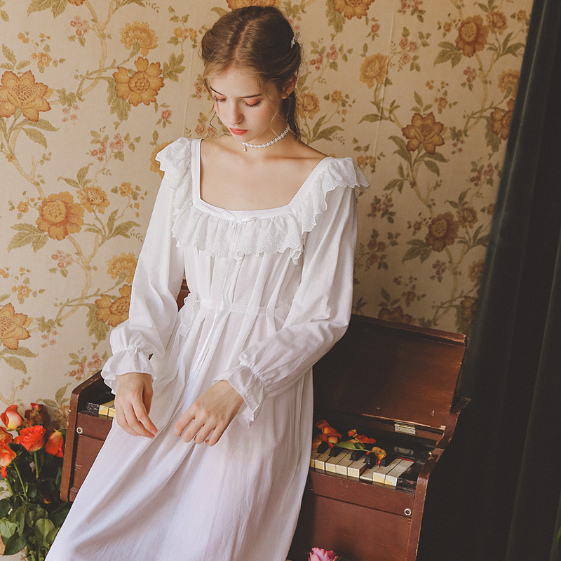 2019 New Victorian Night Dress Autumn Sleepwear White Cotton Long   Nightgowns     Sleepshirts   Comfortable Homewear Elegant Sleepdress