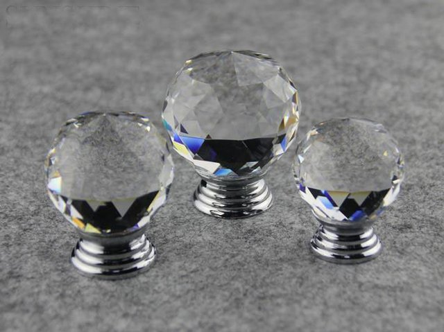 Door Hareware Clear Crystal Glass Chrome Cabinet Furniture Knobs New  (Diameter: 40MM)