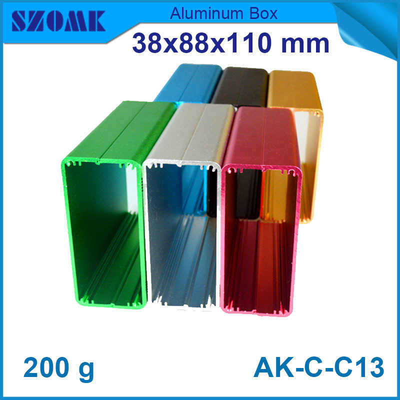 2piece free shipping colorful aluminium enclosure for diy electronic pcb broad 38*88*110mm 2piece 100