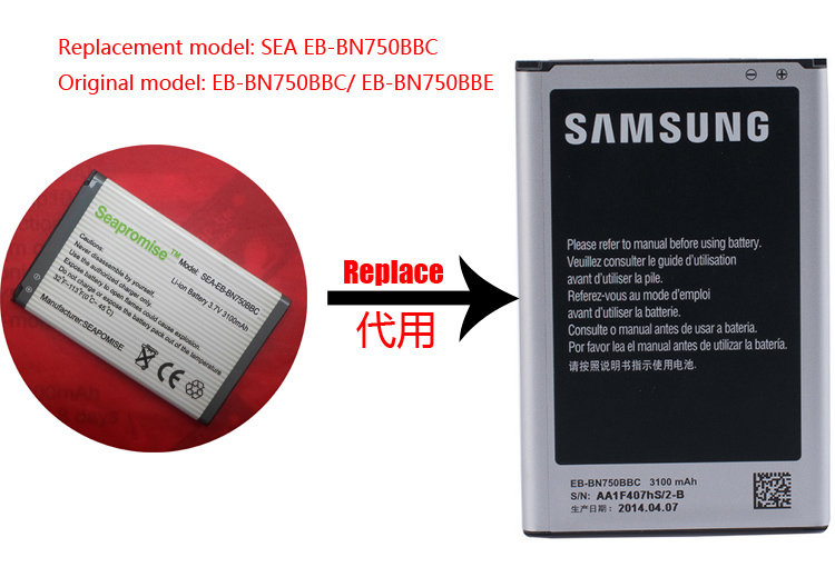 Retail EB-BN750BBC EB-BN750BBE Battery For Galaxy Note3 Mini N7506V N7505 N7502 N7507 N750K N750S SM-N9008S