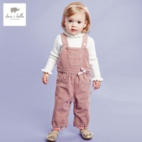 DB2346G dave bella autumn baby girl overalls children overalls girl jumpsuits baby cute overalls