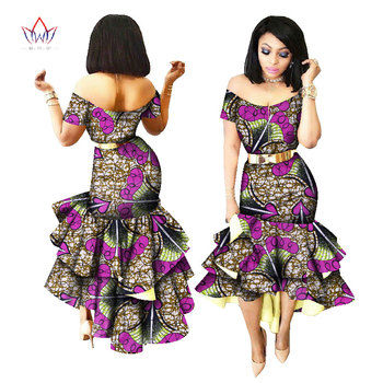 2019 New African Wax Print Dresses for Women Bazin Riche Cotton Party Dress Dashiki Sexy African Fashion Clothing WY2205 2