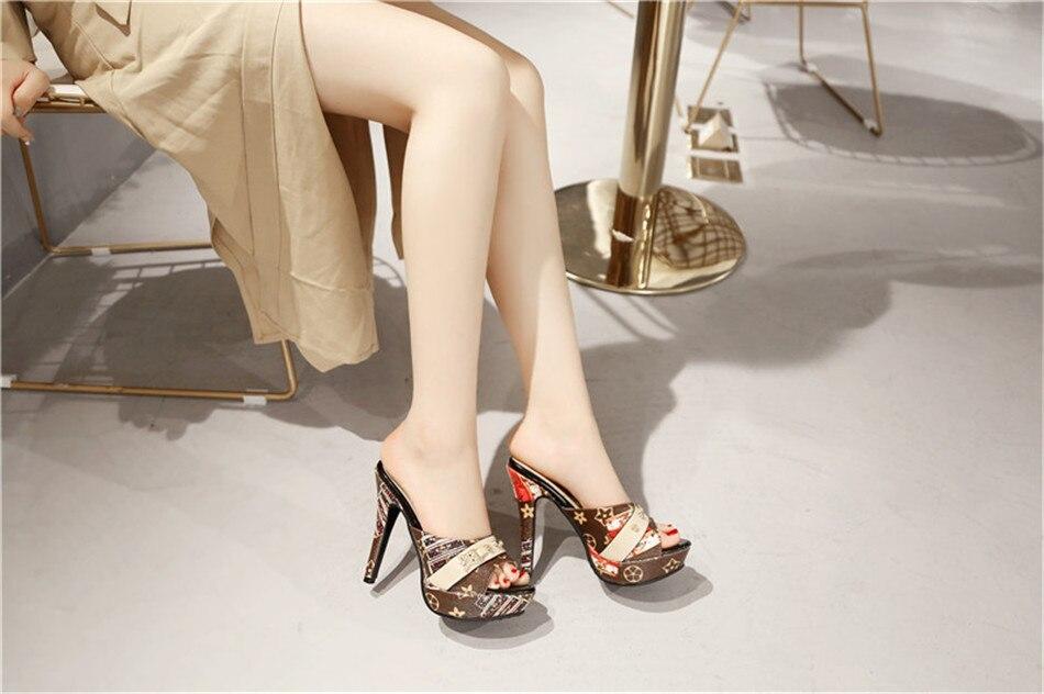 Odetina 2018 New Fashion Women Platform Mules Pumps Extreme High ... 6b2926a1e644
