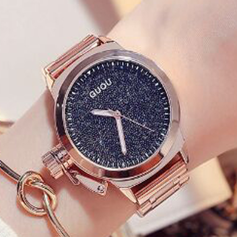 все цены на GUOU Rose Gold Ladies Watch Fashion Women's Watches Stainless Steel Wrist Watches For Women Clock Women relogio feminino saat