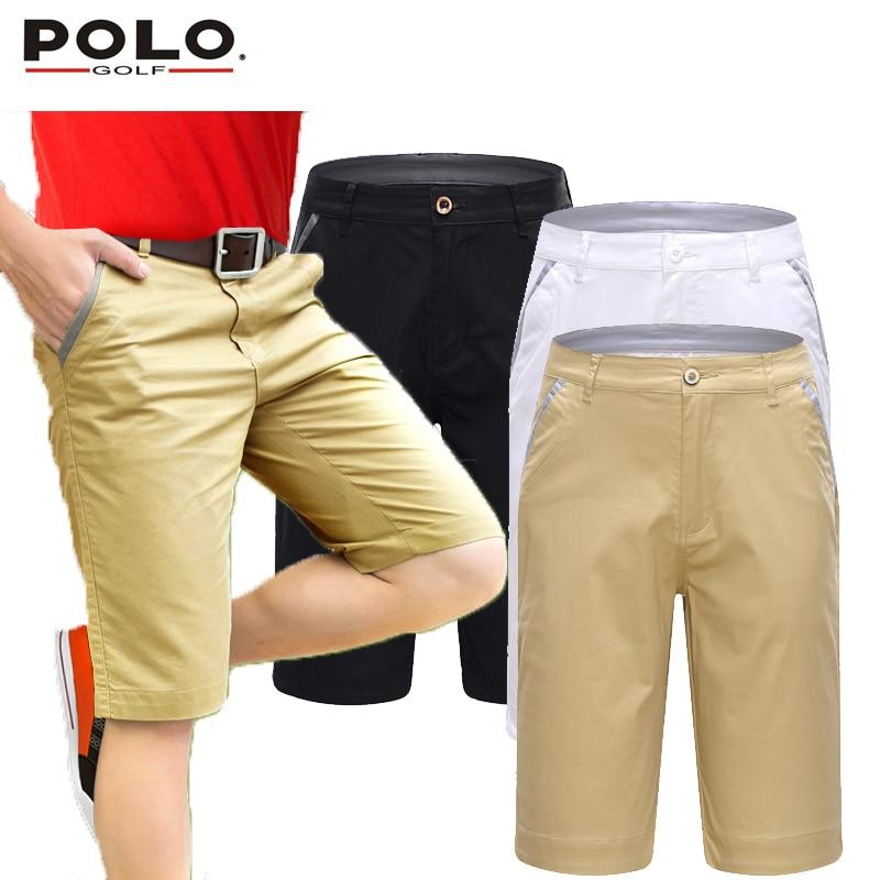 ФОТО Brand POLO Men Golf Shorts Cottton Pearly Gates Golf Trousers Pantalon Homme Clothing White Black Khaki Custom Logo Clothes 2017