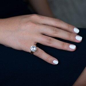 Image 5 - Rainbamabom Vintage 925 Sterling Silver Created Moissanite Gemstone Wedding Engagement Couple Ring Jewelry Wholesale Size 5 12