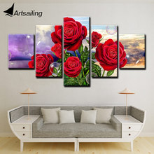 цена на Wall Art 5 Panels Canvas Art Painting Posters and Prints Red Rose Flowers Pictures for Living Room Home Decor F2265