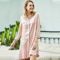 Одежда высшего качества пижама из шелка рубашка ночная рубашка для отдыха дома халат Для женщин одежда для сна Повседневное интимное нижне