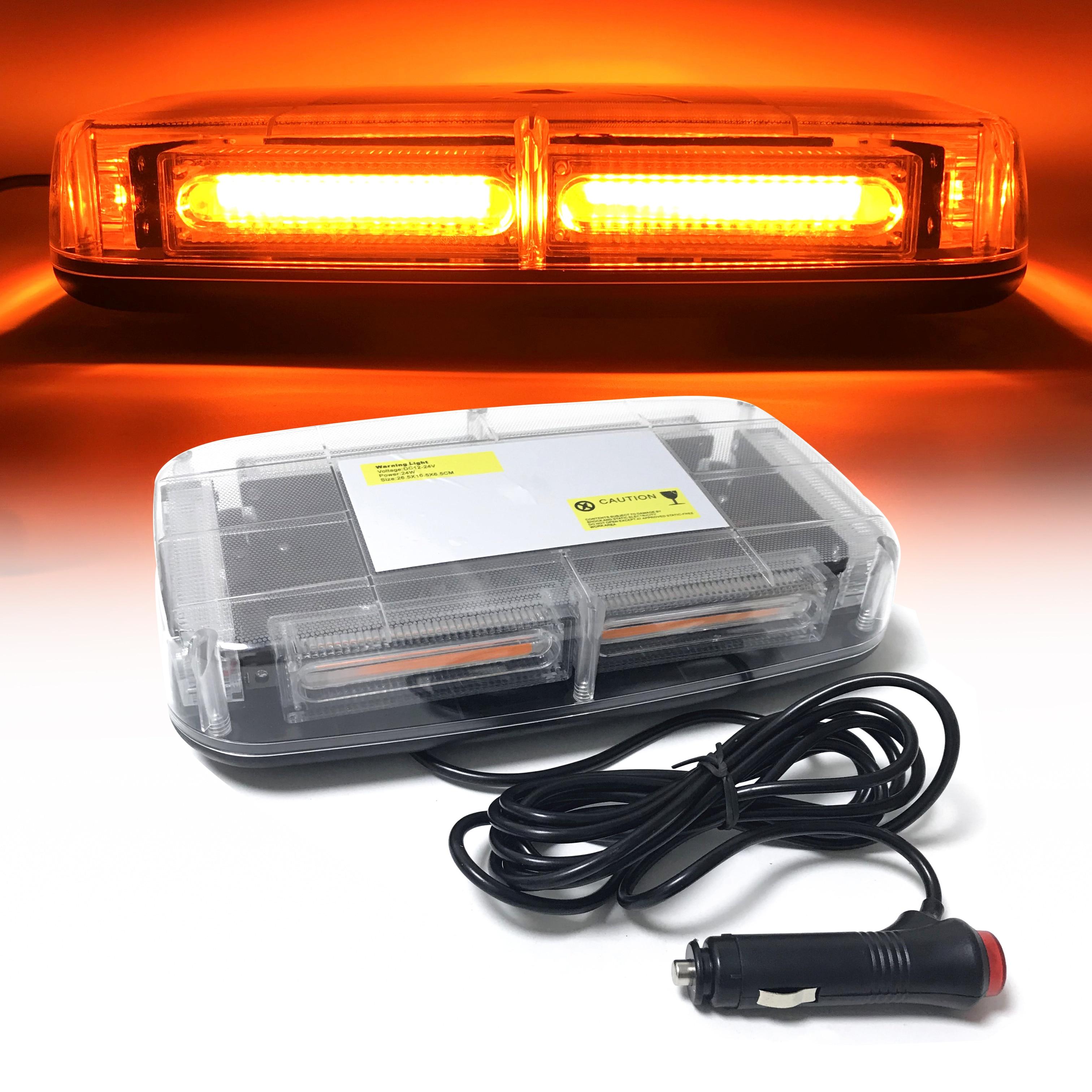 Ambre COB LED voiture toit stroboscope Flash avertissement lumière véhicule Police clignotant balise stroboscope lampe de secours magnétique monté 12V ~ 24V