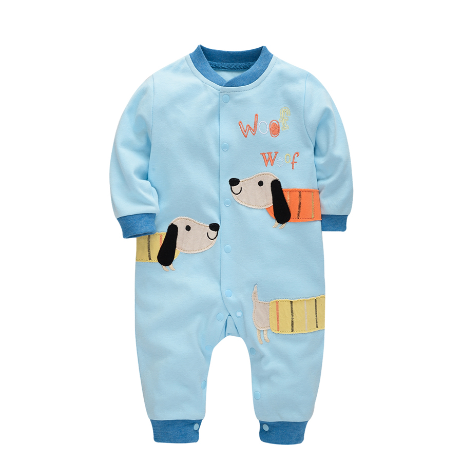 Brand Baby Romper Long Sleeves 100% Cotton Baby Pajamas Cartoon Dog Embroidered Baby Sleepwear Newborn Girls Boys Clothes PF020 mother nest baby romper 100% cotton long sleeves baby gilrs pajamas cartoon printed newborn baby boys clothes infant jumpsuit
