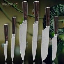 Küchenmesser koch schneiden santoku utility pariing damaskus adern edelstahl messer farbe holzgriff sharp kochen werkzeuge