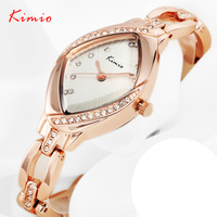 KIMIO Women S Luxury Rhinestone Watches Rose Gold Steel Bracelet Watches For Lady