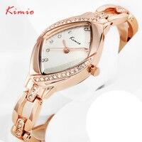 KIMIO kadın Lüks Rhinestone Saatler Lady için Gül Altın Çelik Bilezik Saatler