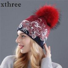 Xthree inverno berretti cappelli di lana cappello di lavoro a maglia per le donne pelliccia di visone real pom pom Skullies delle ragazze del cappello