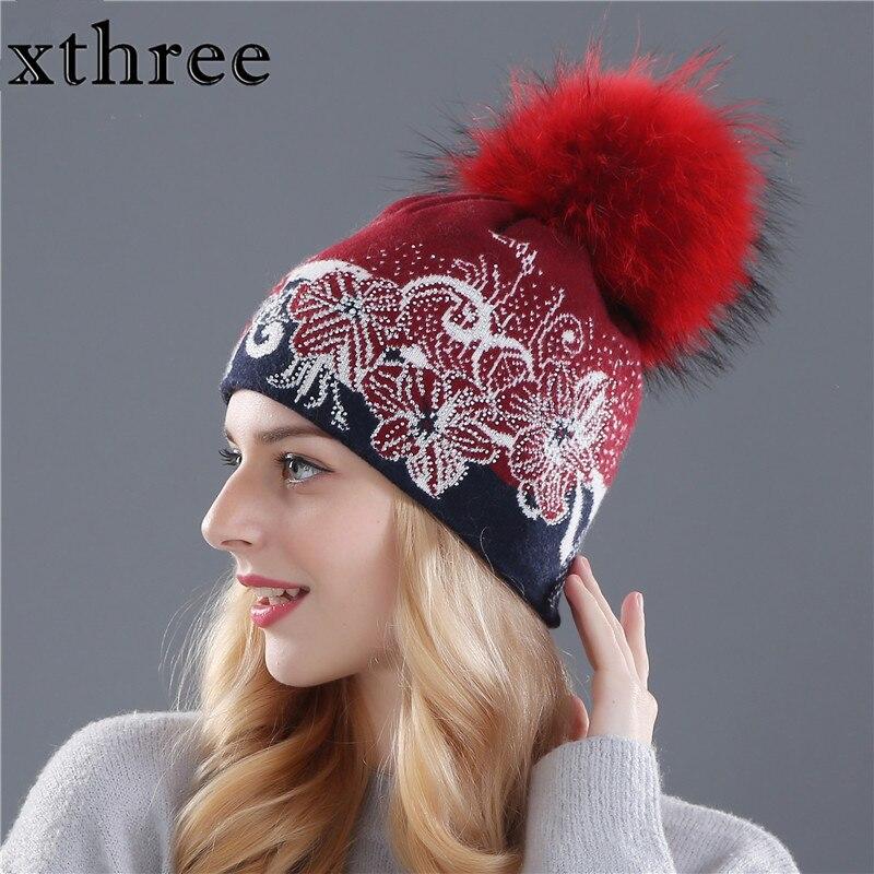 Xthree winter   beanies   wool knitting hat for women real mink fur pom poms   Skullies   girls hat