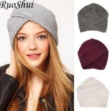 Kadın bohem tarzı sıcak kış sonbahar örme kap moda Boho yumuşak saç aksesuarları türban katı renk müslüman şapka tüm satış