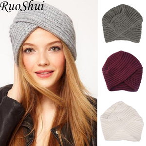 Image 1 - Women Bohemian Style Warm Winter Autumn knitted Cap Fashion Boho Soft Hair Accessories Turban Solid Color Muslim hat Whole Sale