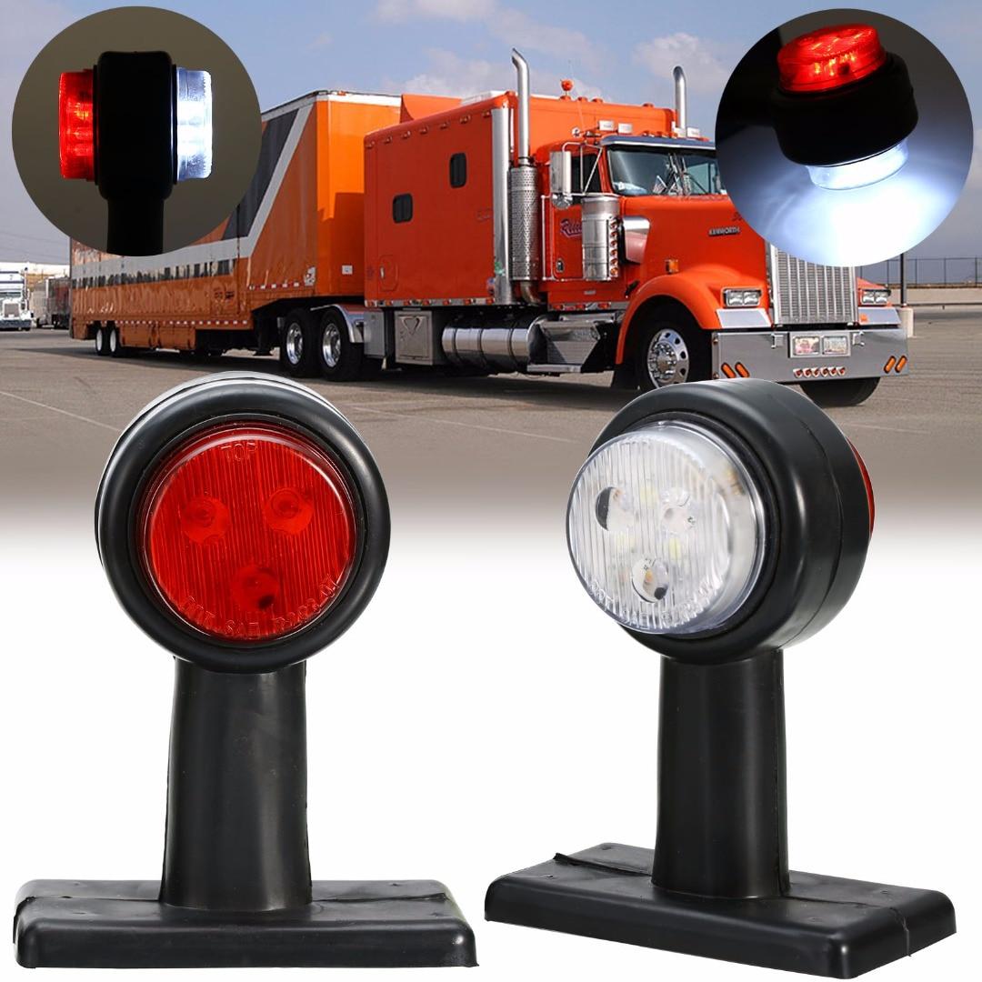 2PCS Car Truck Trailer Caravan LED Double Side Marker Clearance Light Red + White Lamp 12V-36V yamaha led trailer light kit