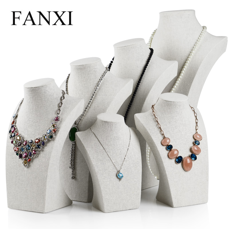 FANXI Custom White Linen Necklace/Pendant Jewelry Display Model Bust Counter Shop Mannequin Stand Rack Expositor