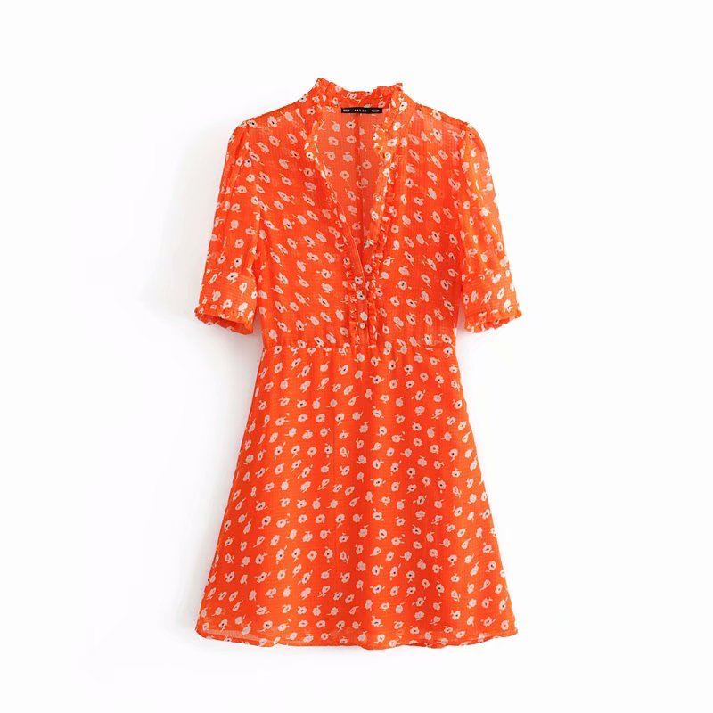 2019 New Women Fashion V Neck Floral Print Agaric Lace Mini Dress Female Elegant Short Sleeve Buttons Chic Party Dresses DS2290