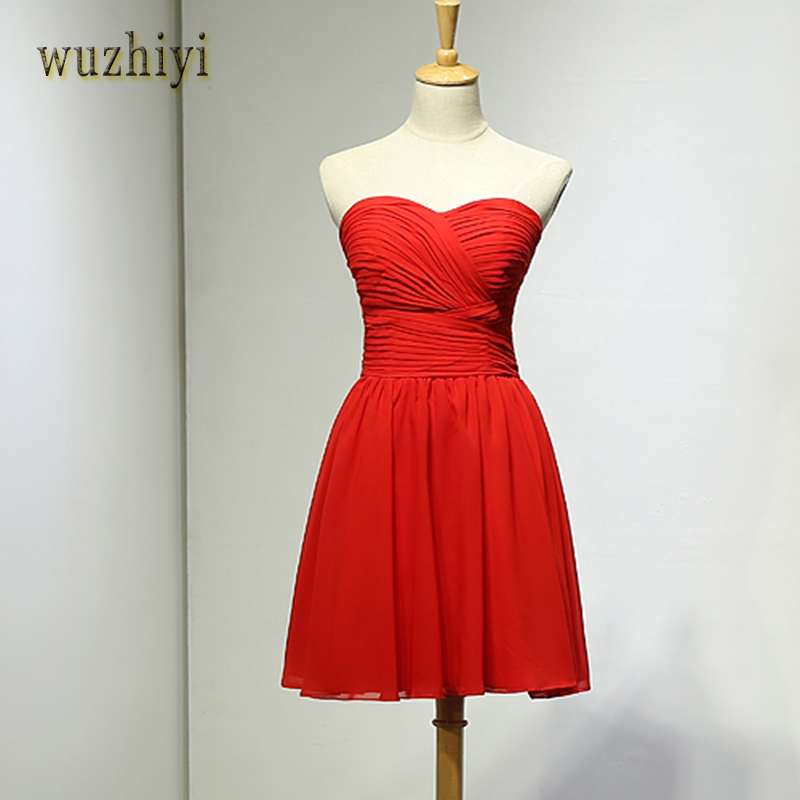wuzhiyi 2017 New Arrival red lace-up back evening dress Custom Made Hot Sale Chiffon short A-line Pleated short evening dresses