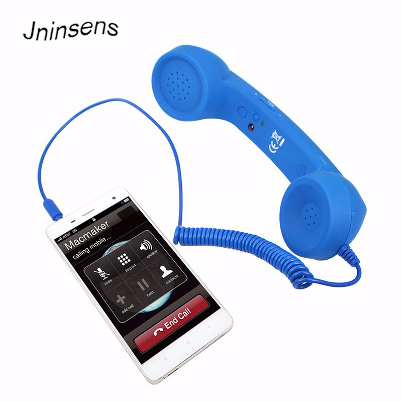 High Quality Classic retro 3.5 mm Comfort telephone Handset Mini Mic Speaker Phone Call Receiver For Iphone Samsung Huawei 2018 new retro telephone 3 5mm comfort mini mic speaker telephone handset radiation proof phone call receiver for iphone samsung
