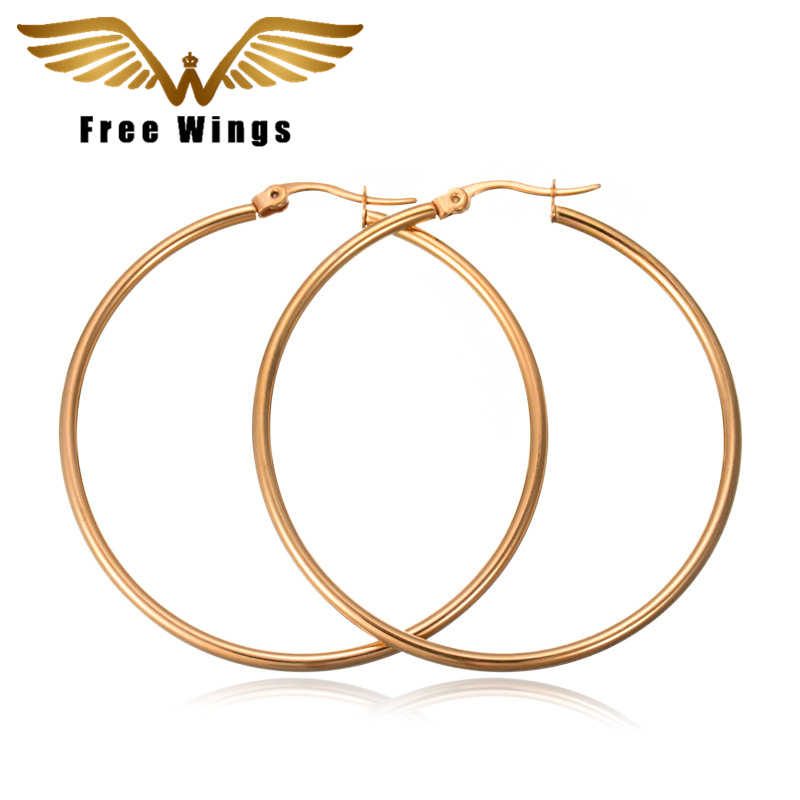 27b0edd42 Gold Silver Stainless Steel Big Small Circular Circle Hoop Earrings For  Women Female Simple Earrings Titanium