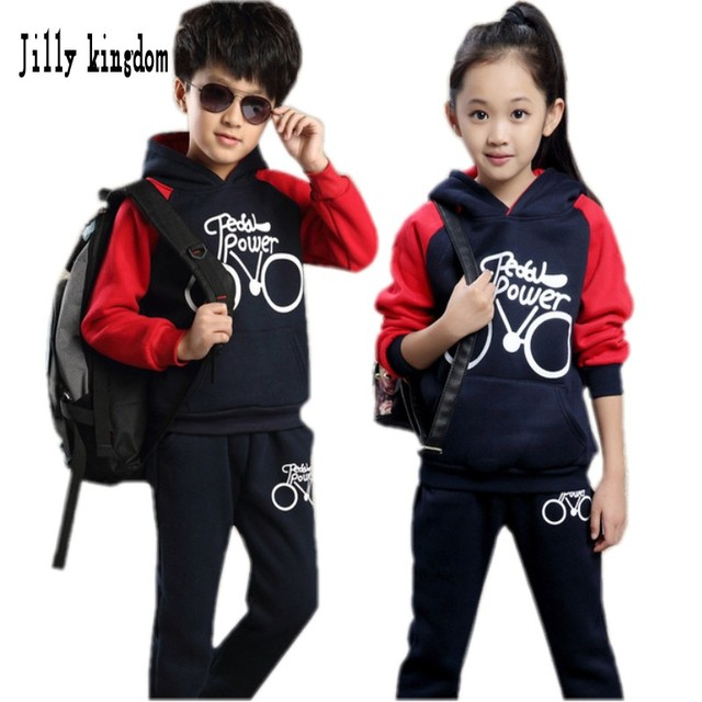 New Autunm Kids Girl Set 2016 Fall Winter Warm Clothes Full Sleeve Sport Suit Children Boy Hooded Sweatshirt 4-12 Year Tracksuit
