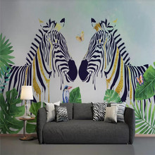 Nordic hand-painted tropical plants zebra background wall professional production wallpaper murals custom photo wallpaper