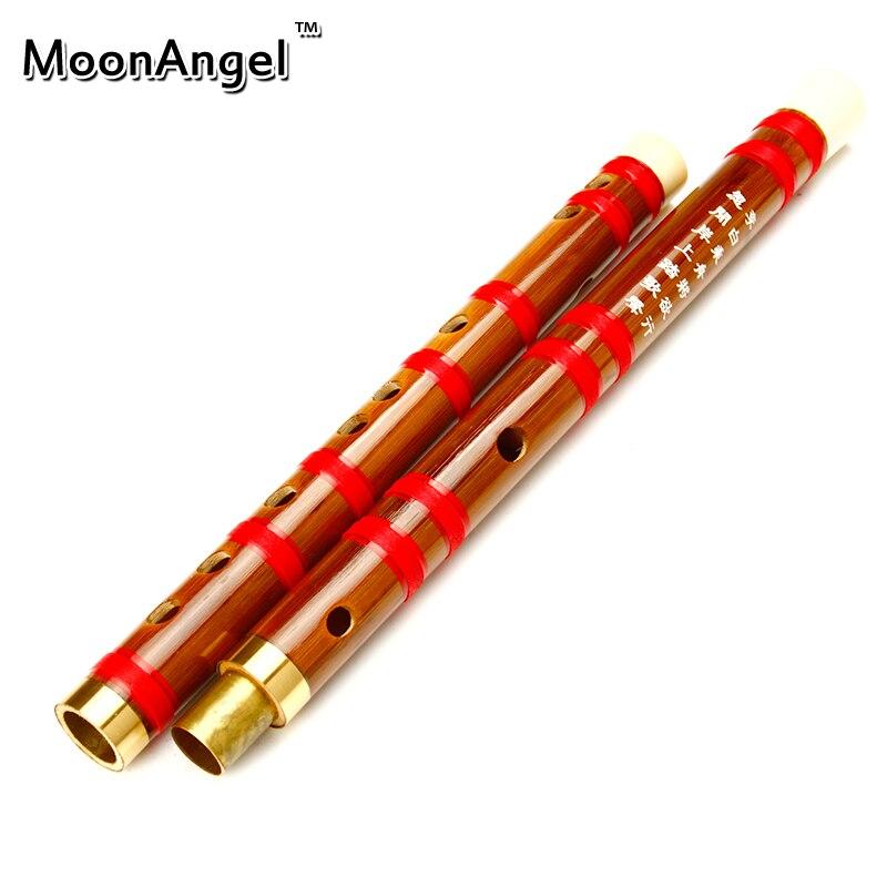 Nueva línea Roja China de Bambú Flauta CDEFG Flauta Instrumento Musical Clave En