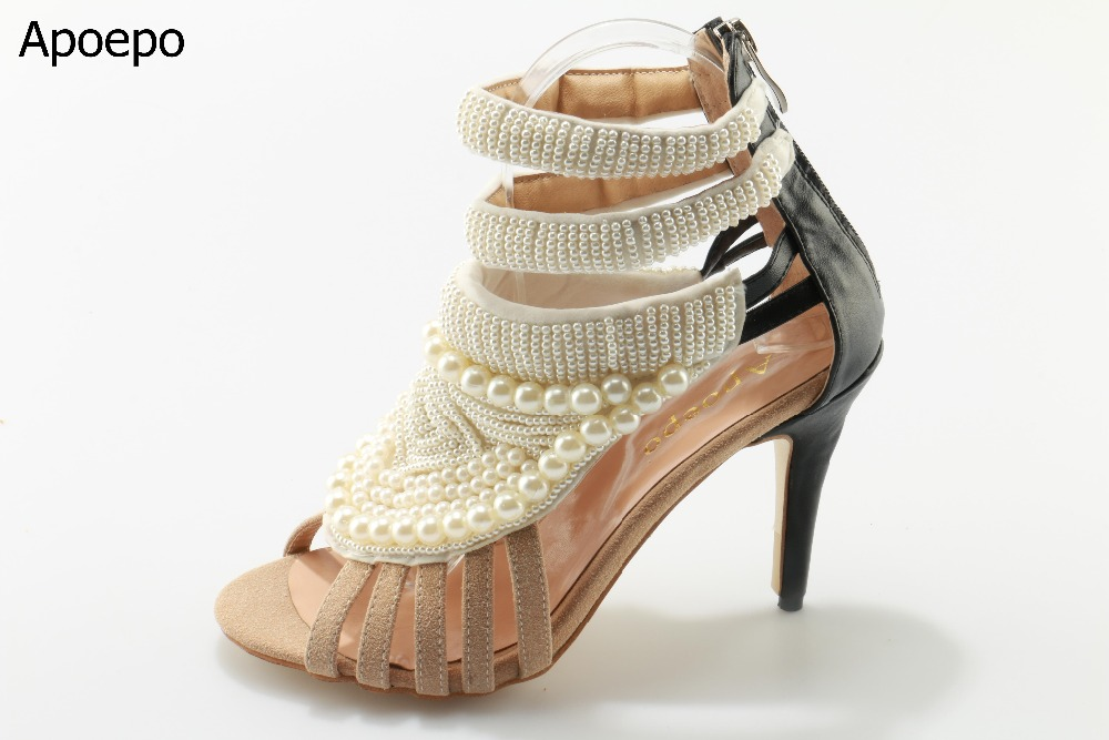 Newest 2017 Unique Style Beige Pearl High Heel Sandals Shining String Beaded Cut-Outs Wedding Pumps Ankle Strap Women Shoes