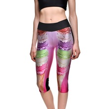 New 1270 Sexy Girl Women Rainbow ice cream Cool 3D Prints Workout stretch Fitness elastic Cropped Trousers Leggings Pocket Pants