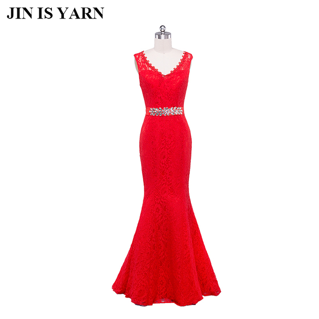feifan lisa Red Lace Evening Dresses Long Banquet Prom Dress 2017 Robe De Soiree  Gown Special Occasion Dresses