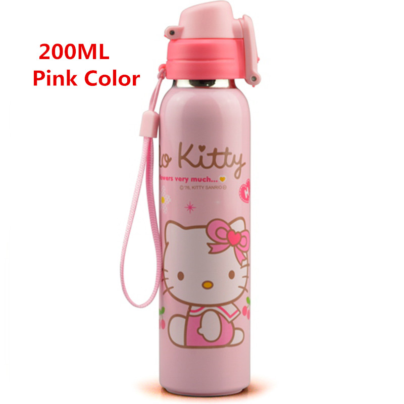 Hello Kitty Children Stainless Steel Vacuum Flasks Thermoses Water Bottle With Rope 180ML 200ML Available Pink