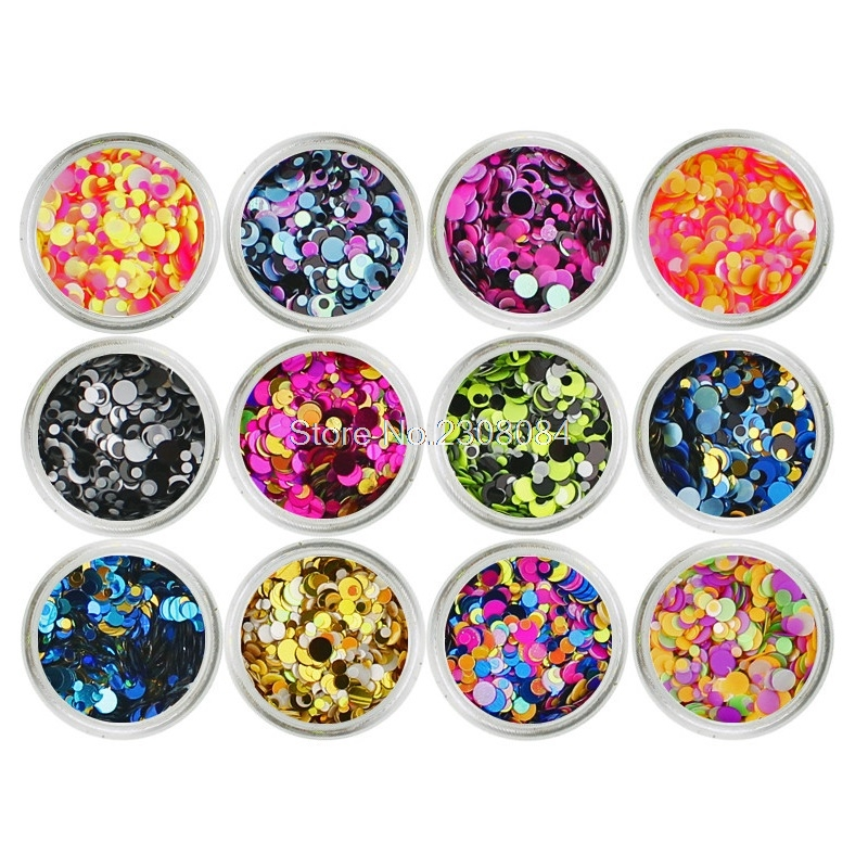 12 Colour Nail Art Glitter Confetti Sequins Dust Round Shiny Metal Color Mixed Sparkle Flakes Manicure Rhinestones Decorations mioblet 2g box mirror effect nail glitter powder shiny rose gold purple mirror chrome powder dust nails art pigment diy manicure