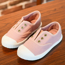 OPOEE Baby Kids Shoes Canvas Cloth 2017 Autumn Boys Girls Loafers Candy Colors Princess Pink Shoes All Match Soft Sole 22-37#