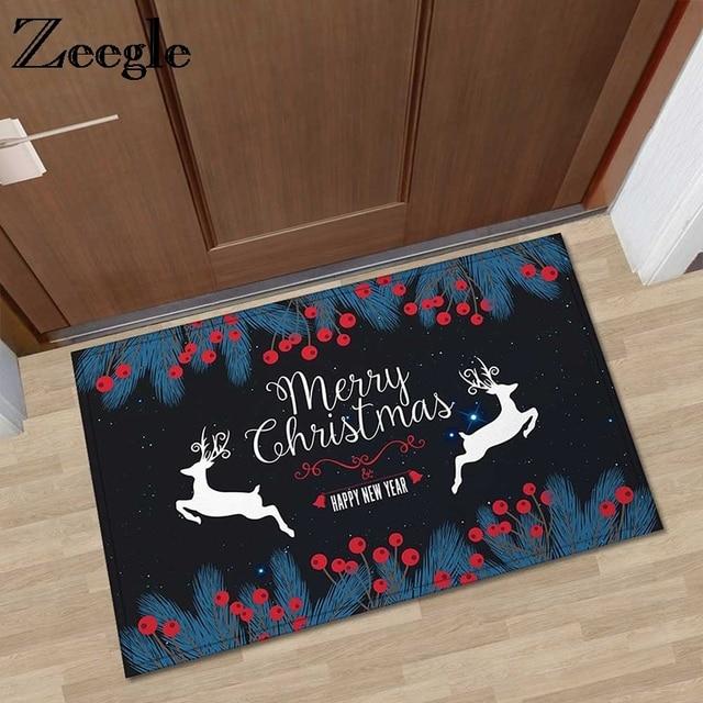 Zeegle Christmas Doormat Outdoor Rugs Non Slip Area Rug For Living Room Kids Bedroom Carpet Foot Mat Bedside Home Floor
