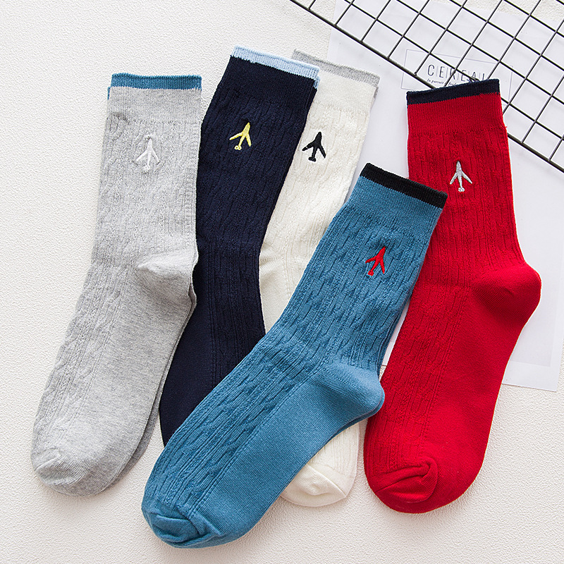 High Quality Embroidery Aircraft Women Men Business Dress Cotton Crew Socks  Gift Designer Brand Novelty Funny Sox White  Cute