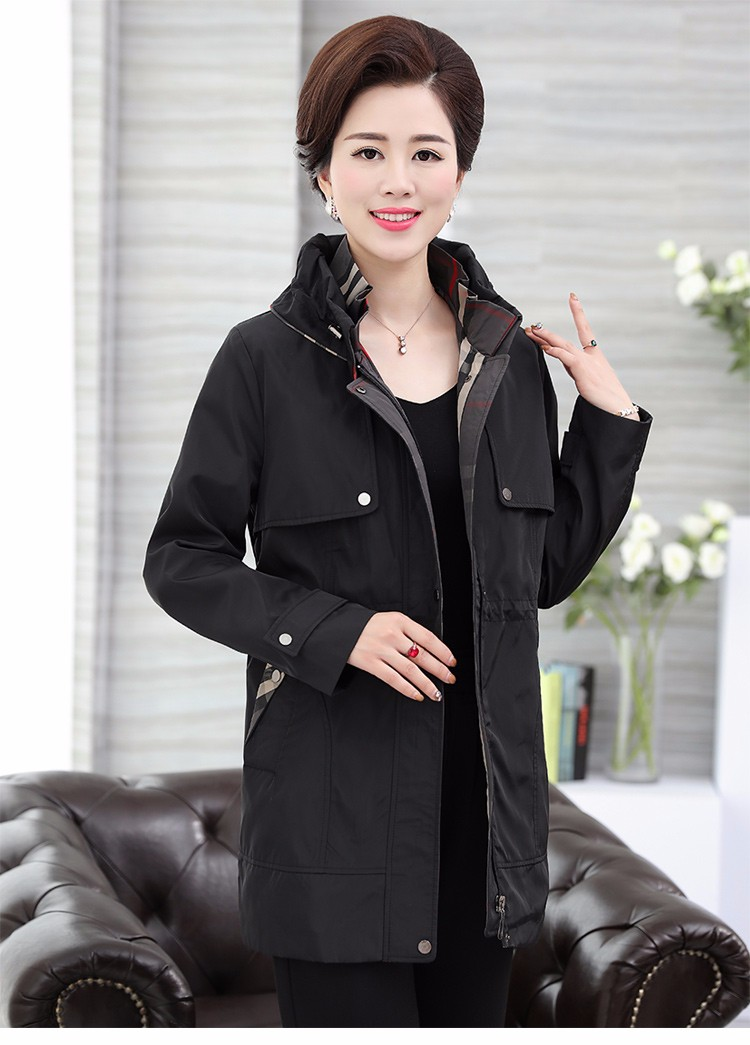 British Style Woman Beige Trench Coat Red Black Overcoat Middle Aged Women\'s Casual Trench Lady Casual Duster Coats 40s 50s 60s Windbreakers (21)