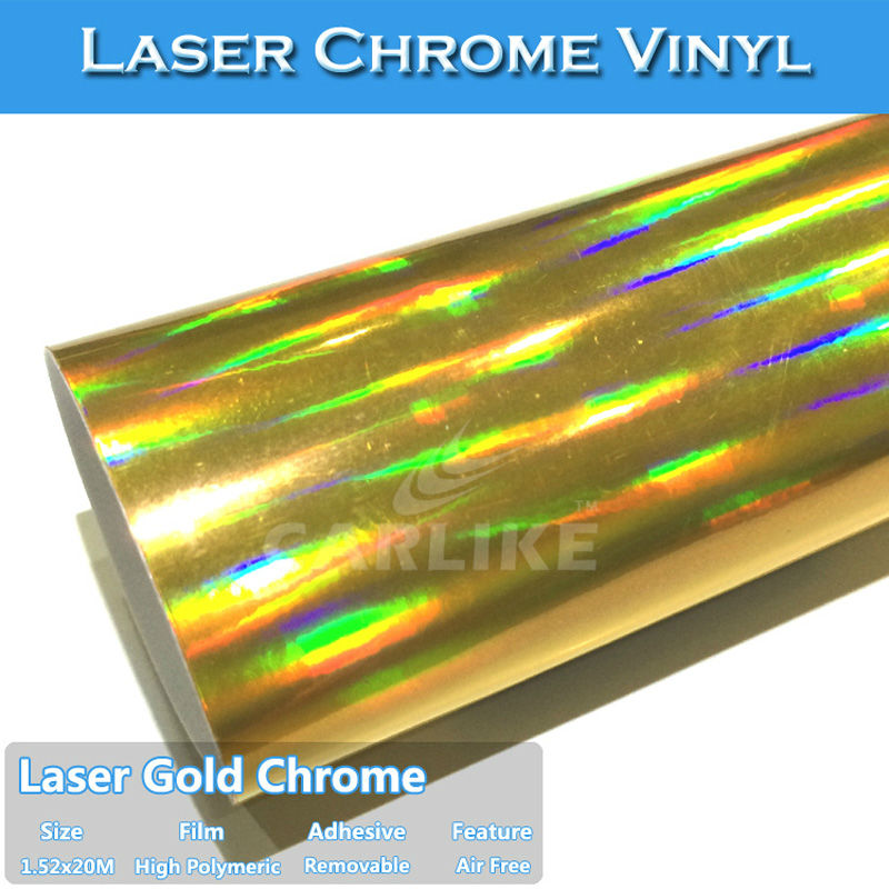 CARLIKE Shiny Laser Gold Chrome Holographic Rainbow Vinyl For Motorcycle Whole Body Wrapping In Car Stickers From Automobiles Motorcycles On