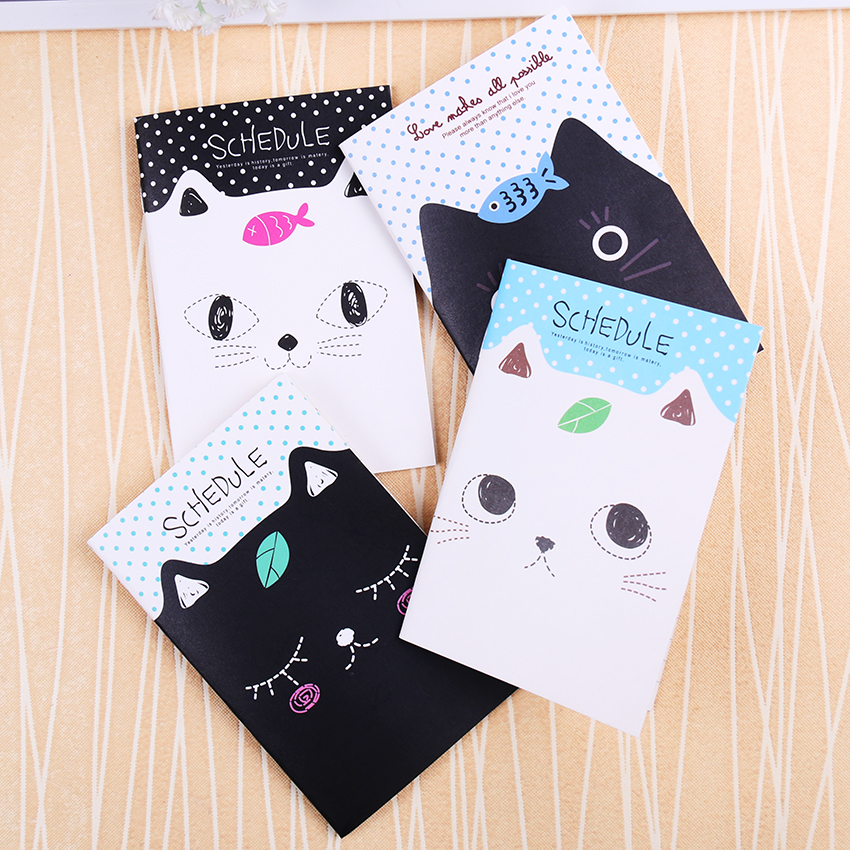 Korean Stationery Notebook Office Supplies School Creative Cartoon Cat Style Filofax Notepad Diary Students kemaidi chrome bathroom sink faucet glass water basin tap for bathroom torneira para de banheiro water taps