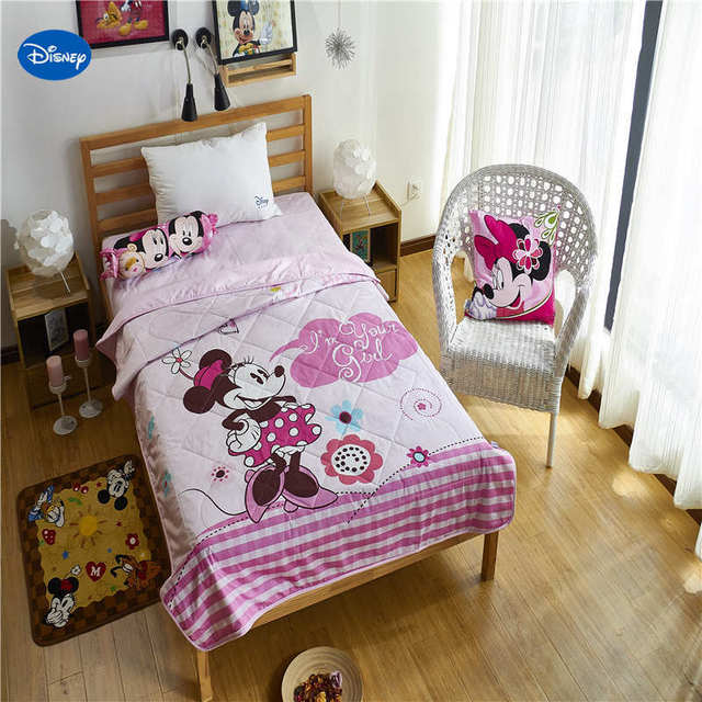US $54.26 19% OFF|Aliexpress.com : Buy Pink Disney Minnie Mouse Quilts  Summer Comforters Bedding Cotton Covers Children\'s Baby Kids Bedroom Decor  ...