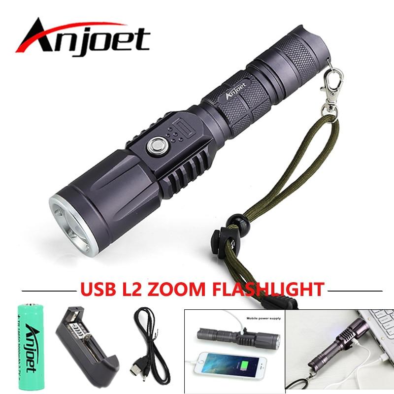 Anjoet CREE XM-L2 LED Tactical ficklampa Kraftfull - Bärbar belysning