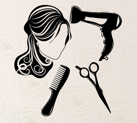ac36bb50d0487 Peluquería Wall vinilo Decal sexy Girl peluquería secador Tijeras peine  arte pared pegatina tienda de pelo decorativo stickerdecoration en  Pegatinas de ...