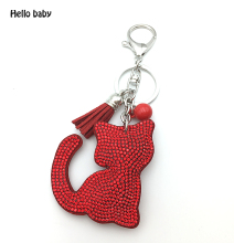 2016 good quality wholesale 7 color new fashion charm key chain pendant rhinestone cat leather keychain