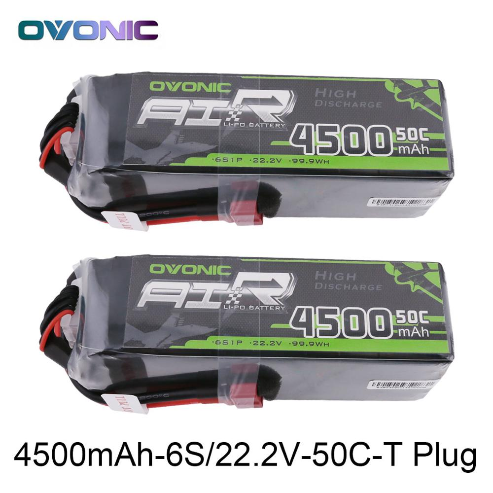 2X Ovonic LiPo Battery 4500mAh 22.2V LiPo 6S 50C-100C Battery Pack T and XT60 Plug for RC Car 600 Size Helicopter Quad Drone 7 4v 500mah 50c lipo battery